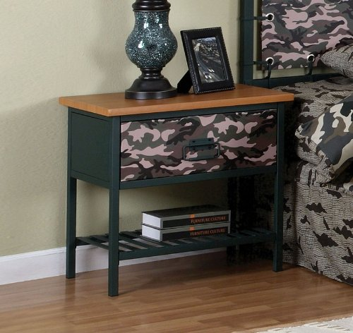 Cheap Kids Nightstand with Army Camouflage Design and Dark Green Frame (AZ00-46850×19299)