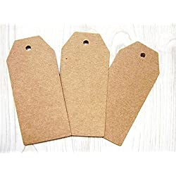 Pack of 50 Large Brown Tags 4.5x9.5cm Price Blank Label with 50 Brown Strings