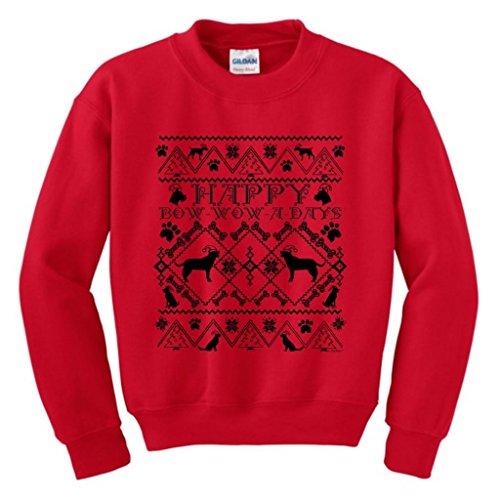 Ugly Christmas Sweater Santa Hat Dogs Youth Crewneck Sweatshirt Medium Red