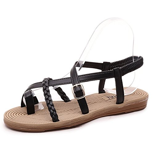 Minetom Donne Estate Sandali Moda Flip Flops Peep Toe Scarpe Con Tessere Bande Nero B 37