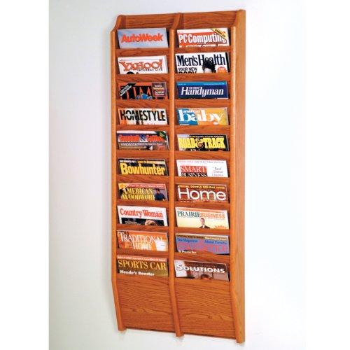 Wooden Mallet 20-Pocket Cascade Magazine Rack, Medium Oak