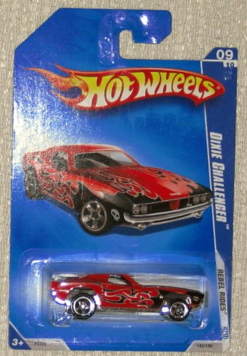 Hot Wheels 2009 Rebel Rides 09/10 Dixie Challenger Dark Red with Black Flames 145/190 1:64 Scale Collectible Die Cast Car - 1