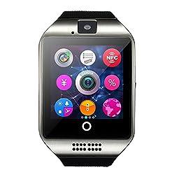 Morjava® Q18 Wireless Smartwatch with Camera Original TF SIM Card Slot Bluetooth NFC- Silver