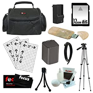 Essential Accessory Kit for Sony Handycam Camcorder HDR-CX190, HDR-CX200, HDR-CX210, HDR-CX260V, HDR-CX580V, HDR-CX760V, HDR-PJ200, HDR-PJ260V, HDR-PJ580V, HDR-PJ710V, HDR-PJ760V, HDR-TD20V, HDR-XR260V +32GB SDHC C10 + Replacement NP-FV70 Battery Pack (2300Mah) + Rapid AC/DC Battery Charger + Mini HDMI Cable + Camcorder Case + USB 2.0 Card Reader + Additional Accessories