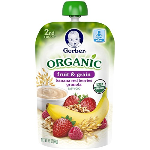 Gerber Organic 2nd Foods Pouches, Banana, Red Berries Granola, 3.5 Ounce, 12 count