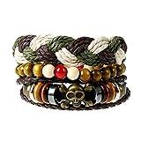 Punk Vintage Leather Bracelets,Beaded Braided Bracelets,Hemp Cords Ethnic Tribal Bracelets, Unisex Cuff,Set of 4 (SZ001)