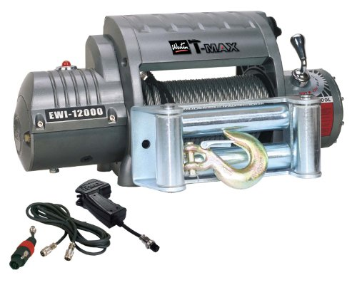 T-Max 47-1612 Outback Series Ewi12000 12,000Lb 12V 6.6Hp Winch With Steel Cable, Wireless Hand Control, And Torque Limiter