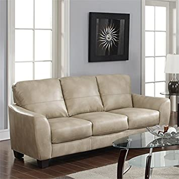 Chintaly Imports Club Bonded Leather Sofa, Taupe