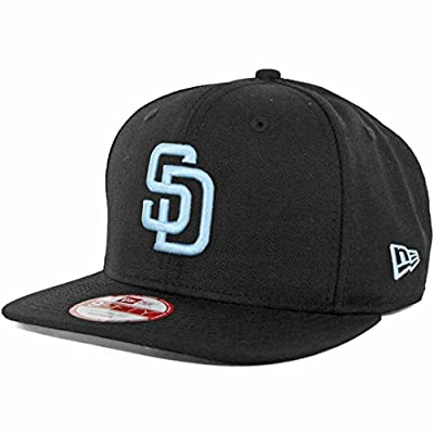 New Era SD San Diego Padres Custom Snapback Hat (Black/Sky Blue) 9Fifty Cap