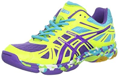 Asics - Womens Volleyball Gel-Flashpoint Shoes In F Yellow/P Blu/Turq, UK: 6.5 UK, F Yellow/P Blu/Turq