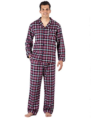 Big and tall pajamas include traditional matching plaid tops and bottoms, but men who prefer a pair of comfy fleece pants and a t-shirt have plenty of options, as well. Many of these lightweight cotton pajamas feature elastic waistbands for a fit that feels custom tailored to your measurements.