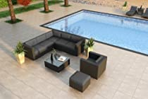 Hot Sale Luxe Urbana 8 Piece Wicker Outdoor Sofa Sectional Set with Sunbrella Canvas Charcoal (54048-0000) Cushions