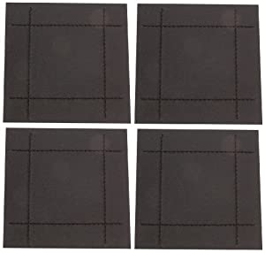 Rayware Faux Leather Stitch 4-Coasters, Black