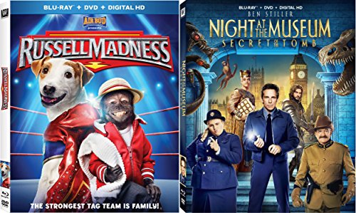 Night at the Museum Secret of the Tomb + Russell Madness Blu Ray DVD Family Animal Fun Movies DVD Kids animated