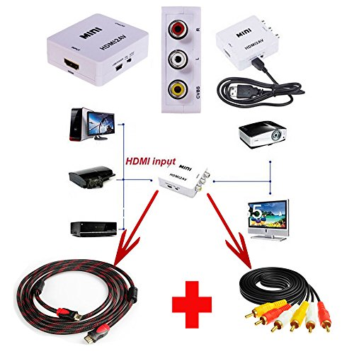 Best Deals! Ansee Mini 1080P Hd Video Converter Hdmi to Av & Input Hdmi Cable & 3 RCA Audio ...