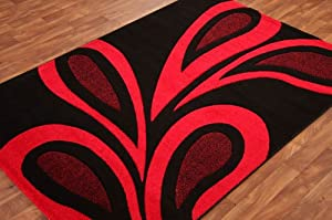 Rich Large Leaf Red & Ebony Black Rug by The Rug House