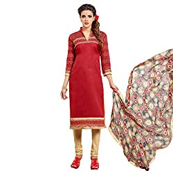 Udantya Women's Chanderi Embroidered Salwar Suit Unstitched Dress Materials (Red)