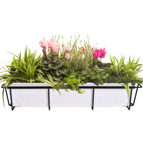 CobraCo 24-Inch to 36-Inch Black Adjustable and Expandable Flower Box Holder F2436-B