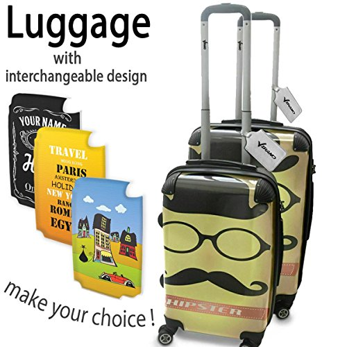 Hipster 10010, Moustache, Set da 2 Luggage Valigia Bagaglio Ultraleggero Trasportabile Rigido 4 Route Adatto con Disegno Colorato. Dimensione: Formato Cabina S, M