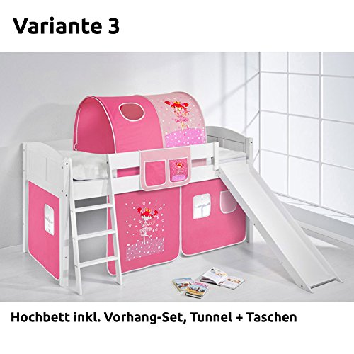Hochbett Spielbett IDA Zauberfee, mit Rutsche und Vorhang, weiß, Variante 3