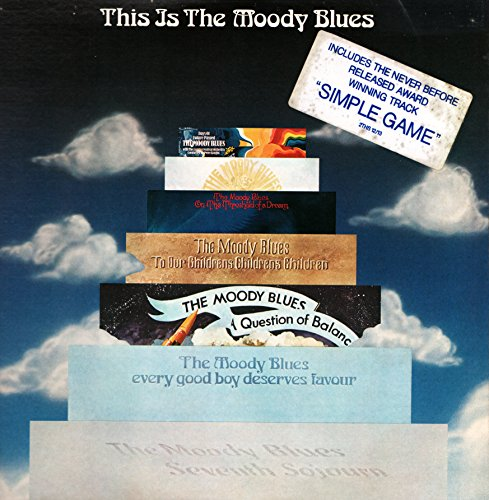 "This is The Moody Blues - 1967 / 1972 ( Vinyle, double 33t - 2 x 12"" ) USA Threshold / London Records 1974 - Question - The Actor - The Word - Eyes of a Child - Dear Diary - Legend of a Mind - In the Beginning - Lovely to See You - Never comes the Day - Isn't Life Strange The Dream Have You Heard The Voyage Ride my See Saw Tuesday Afternoon And the Tides Rushes IN New Horizons Simple Game Watching and Waiting I'm just a Singer For my Lady The Story in Your Eyes Nights in White Satin Late Lament"