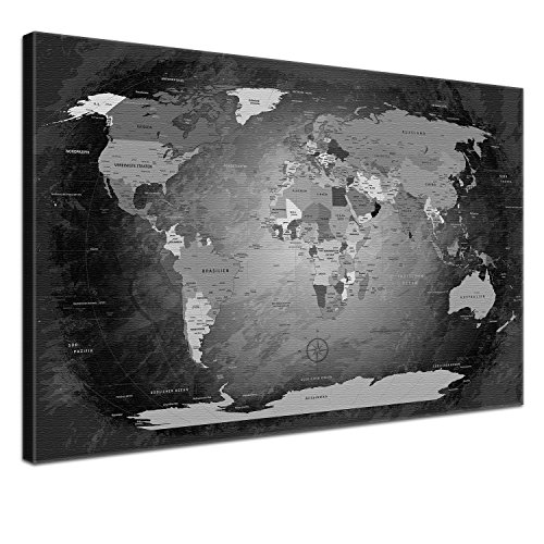 lanakk weltkarte leinwandbild mit korkr ckwand zum pinnen der reiseziele worldmap black and. Black Bedroom Furniture Sets. Home Design Ideas