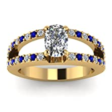 buy 0.97 Carat Cushion Cut Diamond & Blue Sapphire Encrusted Split Engagement Ring Gia (H Color, Vs2 Clarity)