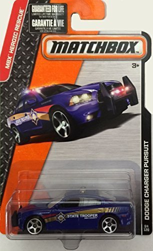 MATCHBOX 2015 RELEASE BLUE DODGE CHARGER PURSUIT ALTERNATE PAINT STATE TROOPER 64/120 (Matchbox Dodge Charger compare prices)
