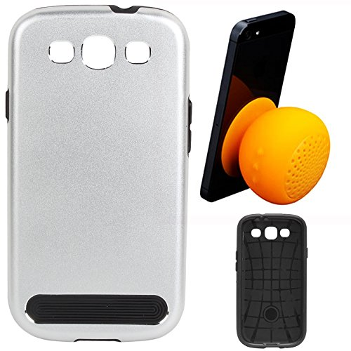 DMG Motomo Ultra Tough Metal Shell Case with Side TPU Protection for Samsung Galaxy S3 / S3 Neo (Silver) + Waterproof Bluetooth Suction Stand Speaker