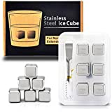6 Stainless Steel Whiskey Chilling Reusable Ice Cubes for Whiskey Wine