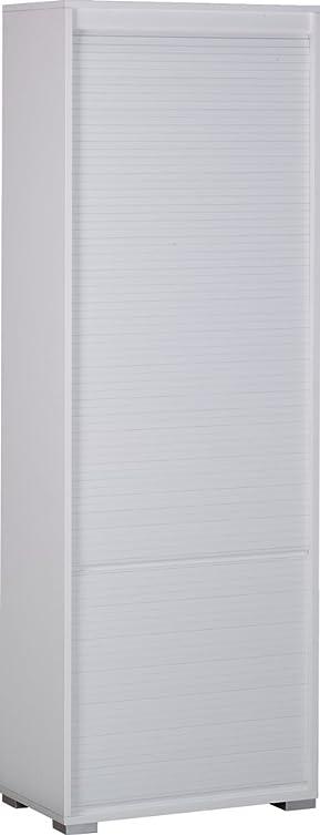 Mobile armadio con chiusura a tapparella in bianco fiammato con finiture frontali in bianco