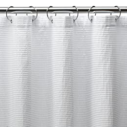 Cotton X-Long Waffle Shower Curtain - White (70x84