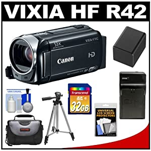 Canon Vixia HF R42 32GB Flash Memory 1080p HD Digital Video Camcorder with 32GB Card + Battery & Charger + Case + Tripod + Accessory Kit