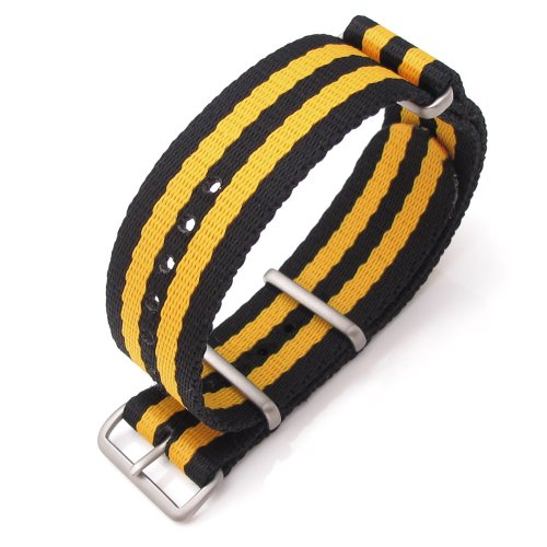 Miltat 22Mm G10 Nato Military Style Watch Strap/Band, Thick Ballistic Nylon - Black & Yellow