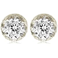 Platinum Plated Sterling Silver 100 Facets Collection Round Cubic Zirconia Stud Earrings