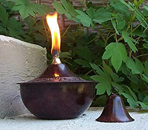 Maui Tabletop Torch Oil Lamp With Snuffer Embossed Patina Fi