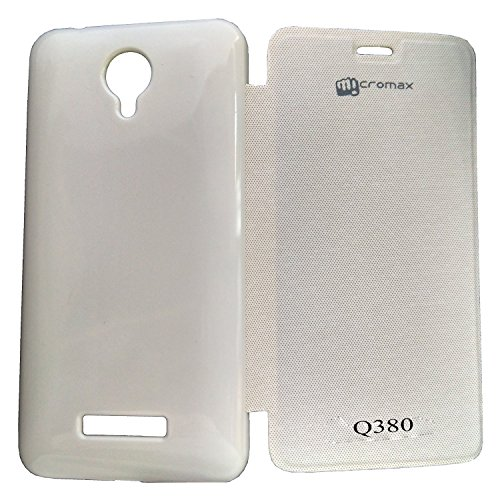 Perfect Fitting Flip Cover Case For Micromax Canvas Spark Q380 - White Color + Free Screen Guard