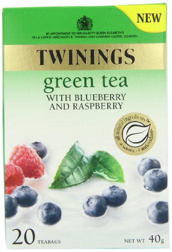 Twinings Green Tea with Blueberry and Raspberry 20 Teabags (Pack of 8,Total 160 Teabags)