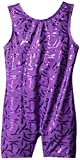 Danskin Little Girls' Sparkle Gymnastics Shortall, Sparkle Purple,Intermediate (6x-7)