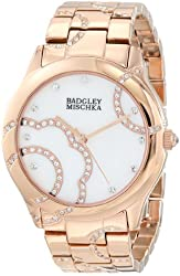 Badgley Mischka Women's BA/1208MPRG Swarovski Crystal Accented Rose-Gold Tone Bracelet Watch
