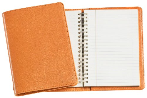 Graphic Image Wire-O-Notebook, Goatskin Leather, 7-Inches, Orange (JS7MRBLGTIORG)