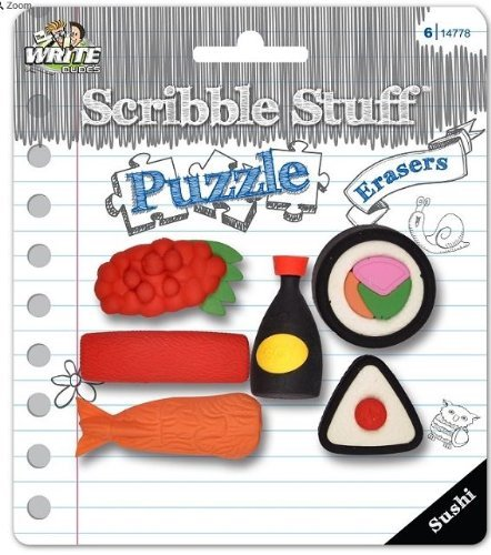 Scribble Stuff Puzzle Erasers ~ Sushi (Sushi with Soy Sauce; 6 Erasers) - 1