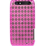 PINK ARGYLE Translucent Flexible TPU Case for Motorola Droid Razr 4G + 4.5 INCHES Screen/Lens Cleaning Cloth