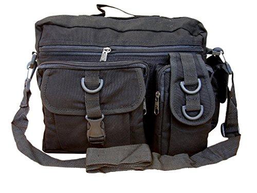Mens Army Combat Military Travel Shoulder Messenger Satchel Bag Black Surplus New
