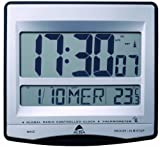 Alba LCDtime Clock Digital 12 or 24-hour Display Radio Controlled W235xD28xH222mm Silver Ref LCDTIME