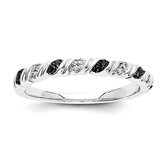 14k White Gold Black and White Ring