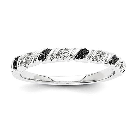14k White Gold Black and White Ring