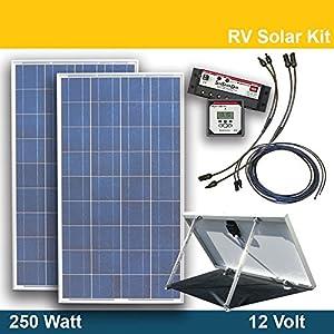 Rv Solar Power Kit 250 Watt 12 Volt 2 X 125 Watt Solar