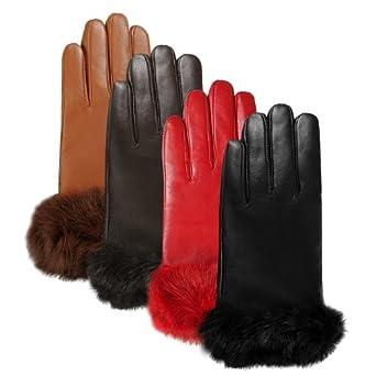 Luxury Lane Women's Rabbit Fur Cuff Cashmere Lined Lambskin Leather Gloves - Black Medium