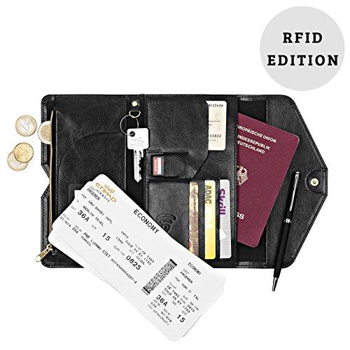 Reiseorganizer-RFID-Schutz-Reisegeldbrse-fr-Reisedokumente-Reisepass-und-Kreditkarten-Kreditkarten-vor-Identittsdiebstahl-schtzen-Schwarz
